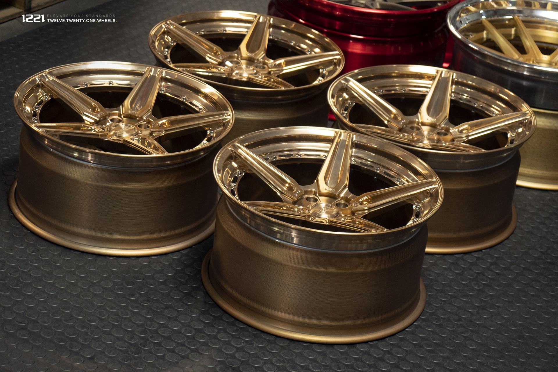 1221 brushed polished bronze finish concave wheels