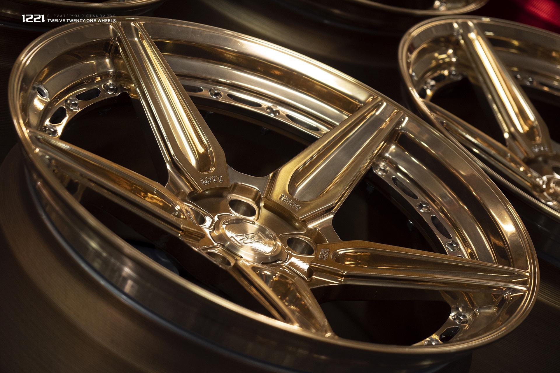 1221 brushed polished bronze finish concave wheels